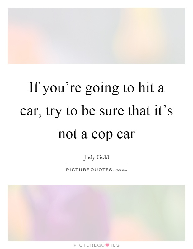If you're going to hit a car, try to be sure that it's not a cop car Picture Quote #1