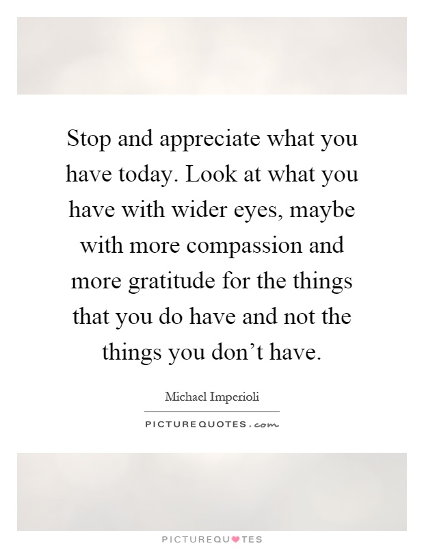 appreciate the things you have essay We should appreciate the things we have before they're gone  it would be a good idea to appreciate all the wonderful things we have now, before they're gone.