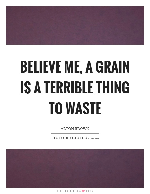 Believe me, a grain is a terrible thing to waste Picture Quote #1