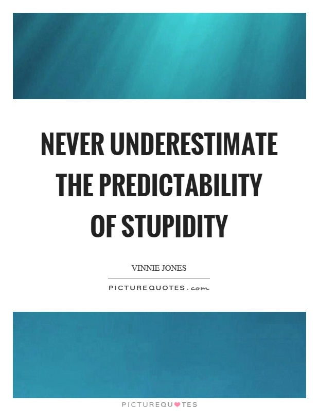 Never underestimate the predictability of stupidity Picture Quote #1