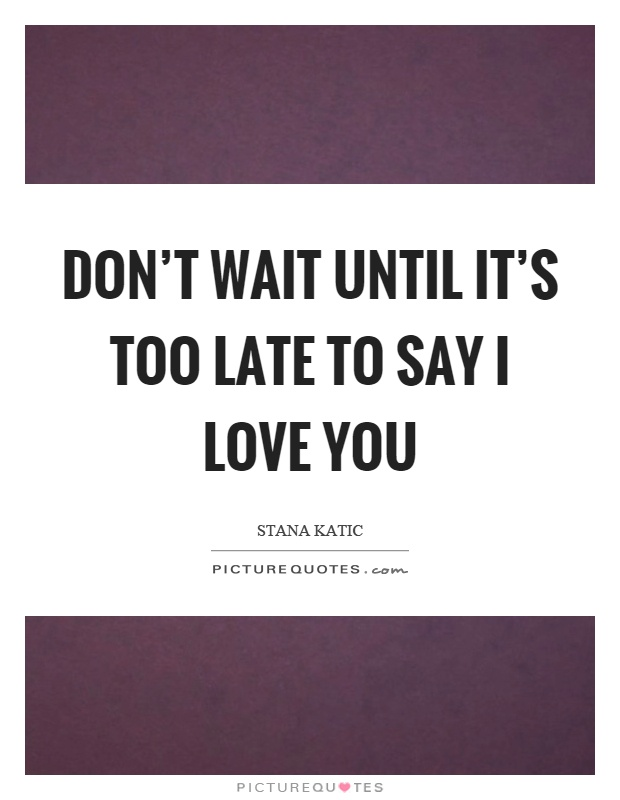 Donu0027t Wait Until Itu0027s Too Late To Say I Love You Picture Quote #