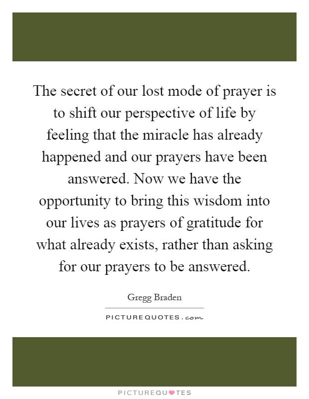 The secret life of prayer