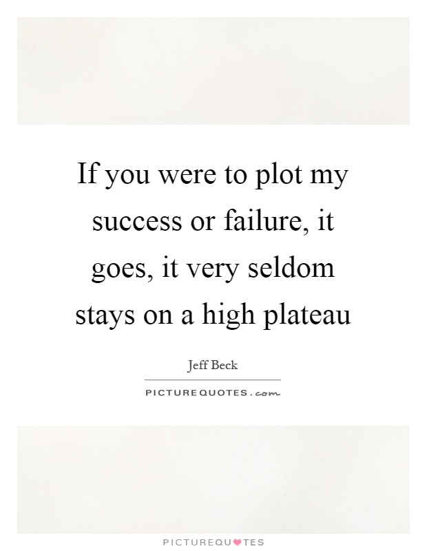 If you were to plot my success or failure, it goes, it very seldom stays on a high plateau Picture Quote #1