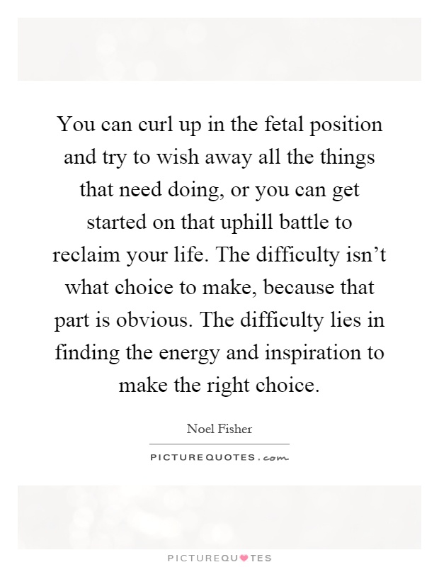 You can curl up in the fetal position and try to wish away all the things that need doing, or you can get started on that uphill battle to reclaim your life. The difficulty isn't what choice to make, because that part is obvious. The difficulty lies in finding the energy and inspiration to make the right choice Picture Quote #1