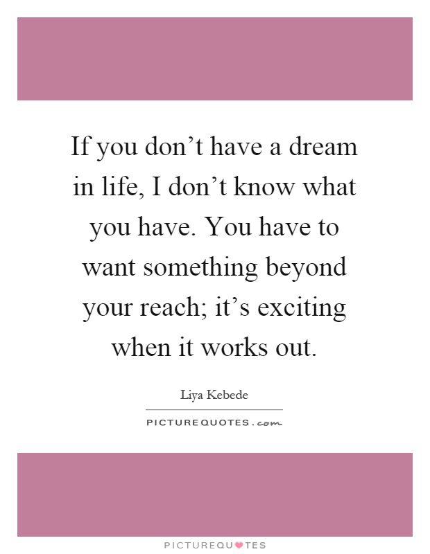 If you don't have a dream in life, I don't know what you have. You have to want something beyond your reach; it's exciting when it works out Picture Quote #1