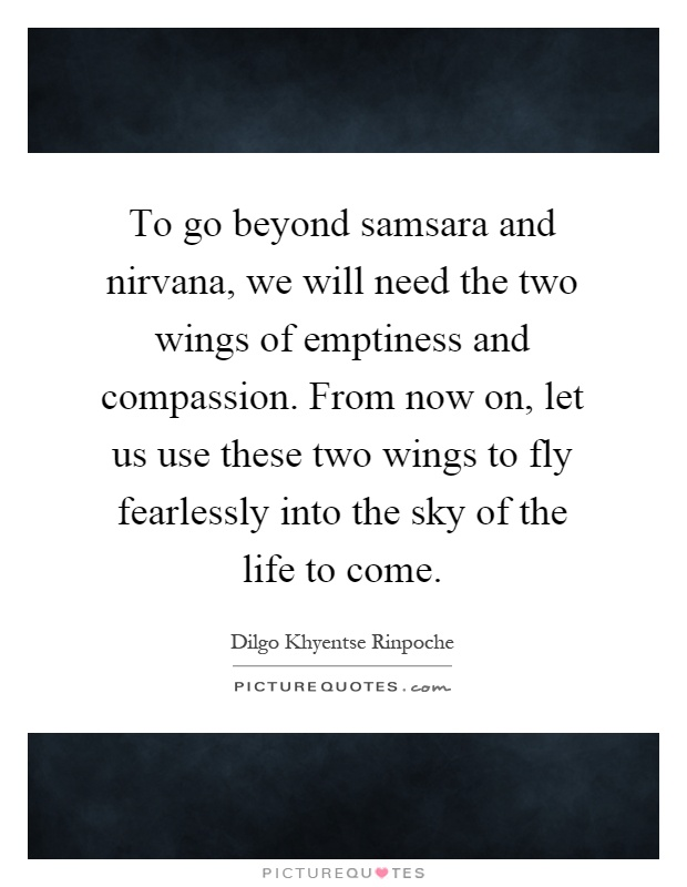 To go beyond samsara and nirvana, we will need the two wings of emptiness and compassion. From now on, let us use these two wings to fly fearlessly into the sky of the life to come Picture Quote #1