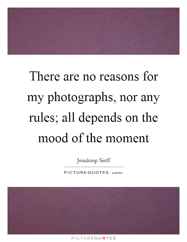 There are no reasons for my photographs, nor any rules; all depends on the mood of the moment Picture Quote #1