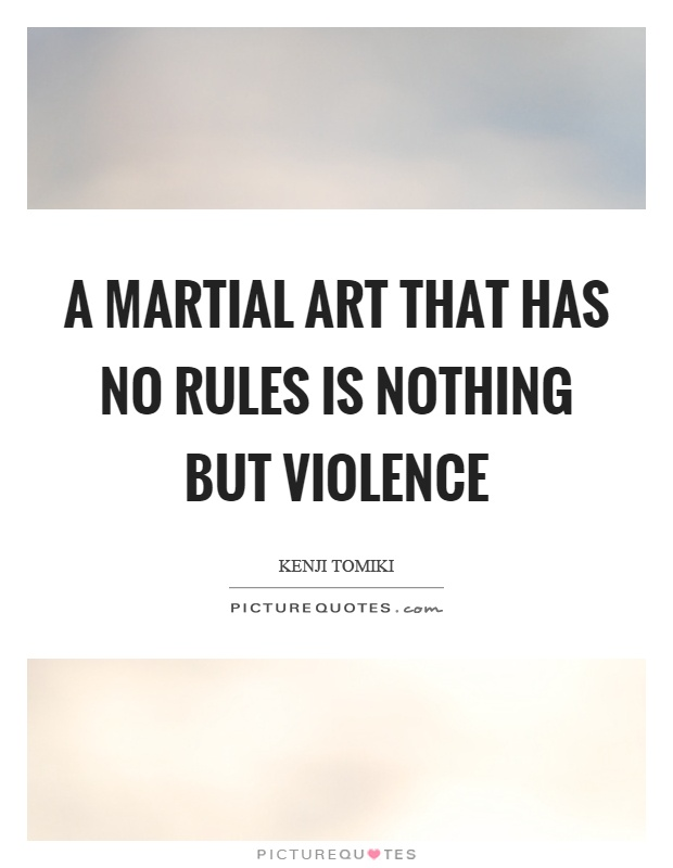 A martial art that has no rules is nothing but violence Picture Quote #1