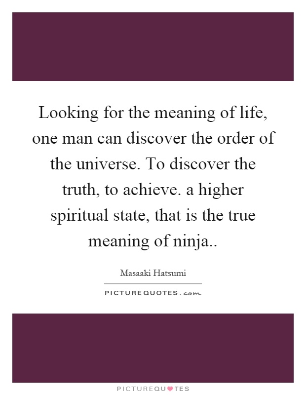 Looking for the meaning of life, one man can discover the order of the universe. To discover the truth, to achieve. a higher spiritual state, that is the true meaning of ninja Picture Quote #1