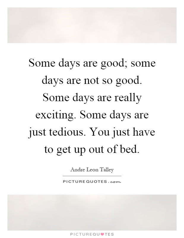 Some days are good; some days are not so good. Some days are really exciting. Some days are just tedious. You just have to get up out of bed Picture Quote #1
