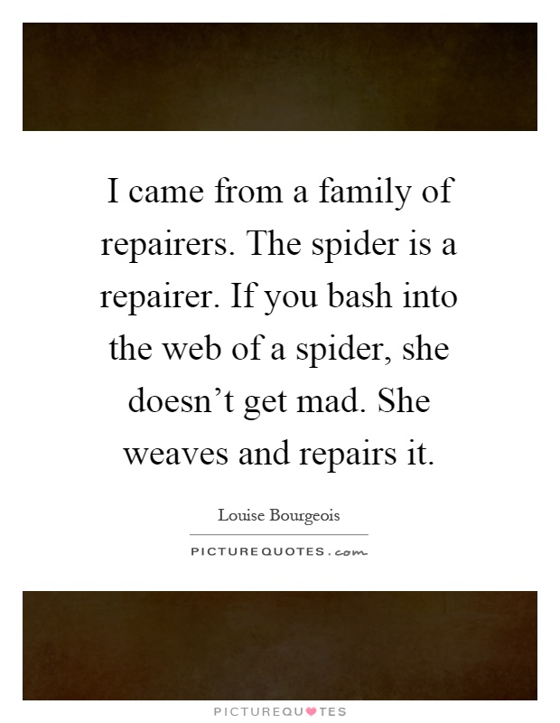 I came from a family of repairers. The spider is a repairer. If you bash into the web of a spider, she doesn't get mad. She weaves and repairs it Picture Quote #1