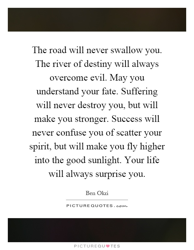 The road will never swallow you. The river of destiny will always overcome evil. May you understand your fate. Suffering will never destroy you, but will make you stronger. Success will never confuse you of scatter your spirit, but will make you fly higher into the good sunlight. Your life will always surprise you Picture Quote #1