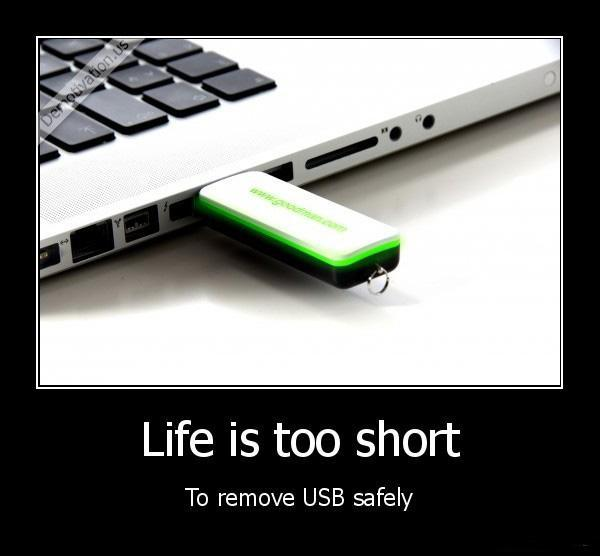 Life is too short to remove the USB safely  Picture Quote #1