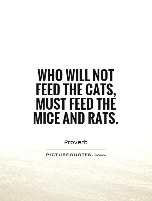 Who will not feed the cats, must feed the mice and rats Picture Quote #1