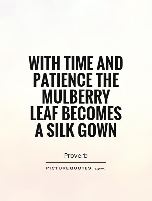 With time and patience the mulberry leaf becomes a silk gown Picture Quote #1
