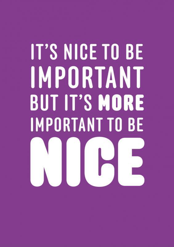 It's nice to be important, but it's more important to be nice Picture Quote #1