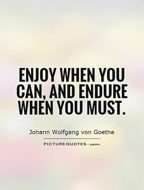 Enjoy when you can, and endure when you must Picture Quote #1