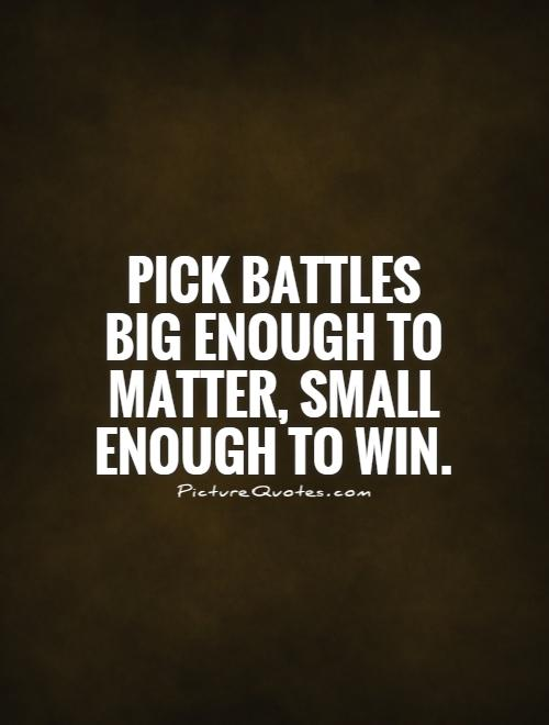 Pick battles big enough to matter, small enough to win Picture Quote #1