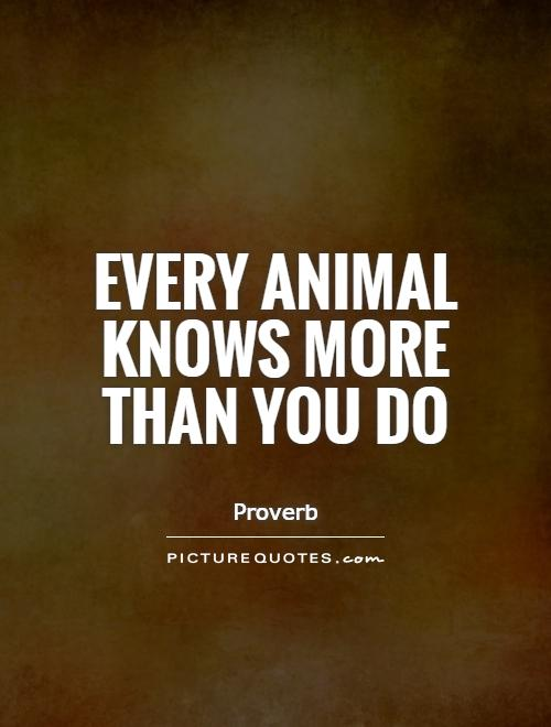 Every animal knows more than you do Picture Quote #1
