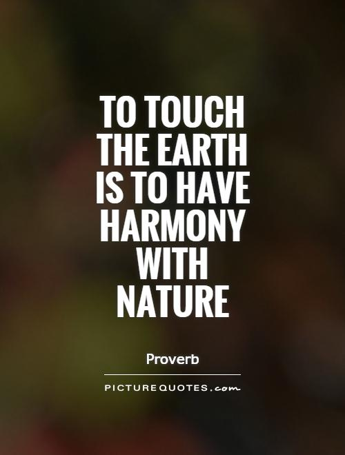 To touch the Earth is to have harmony with nature Picture Quote #1