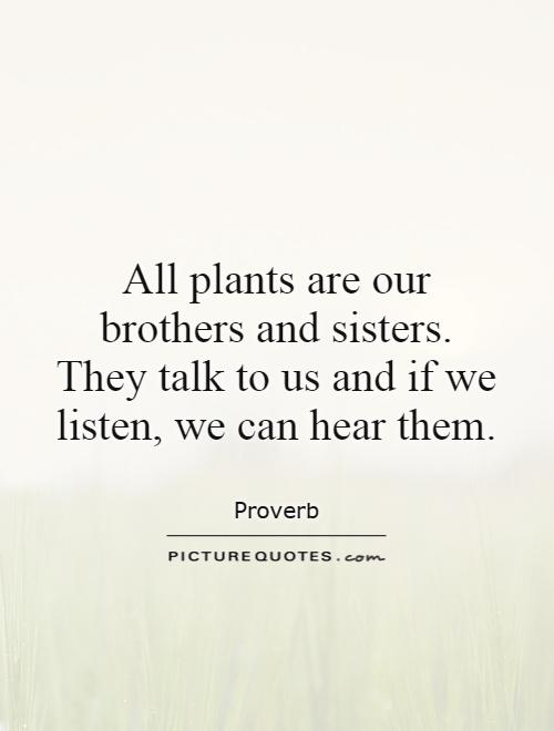 All plants are our brothers and sisters. They talk to us and if we listen, we can hear them Picture Quote #1