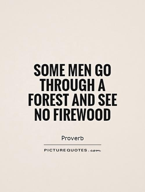 Some men go through a forest and see no firewood Picture Quote #1