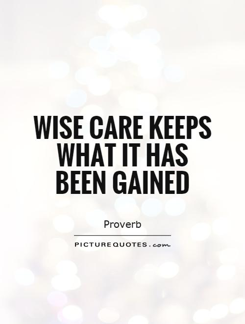 Wise care keeps what it has been gained Picture Quote #1