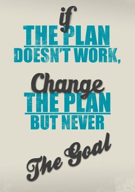 If the plan doesn't work, change the plan but never the goal Picture Quote #1