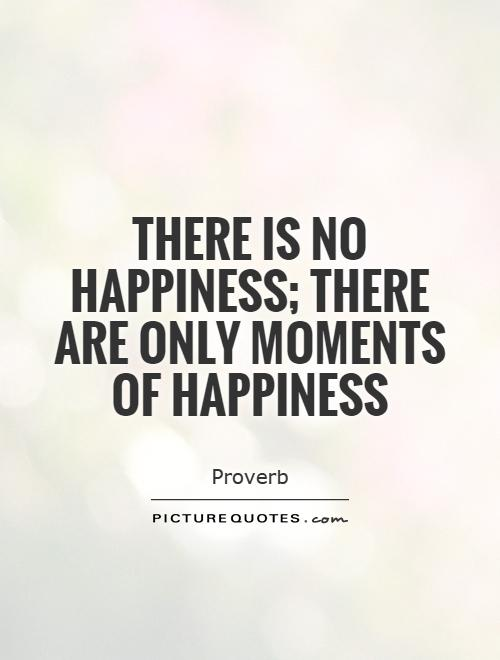 There is no happiness; there are only moments of happiness Picture Quote #1