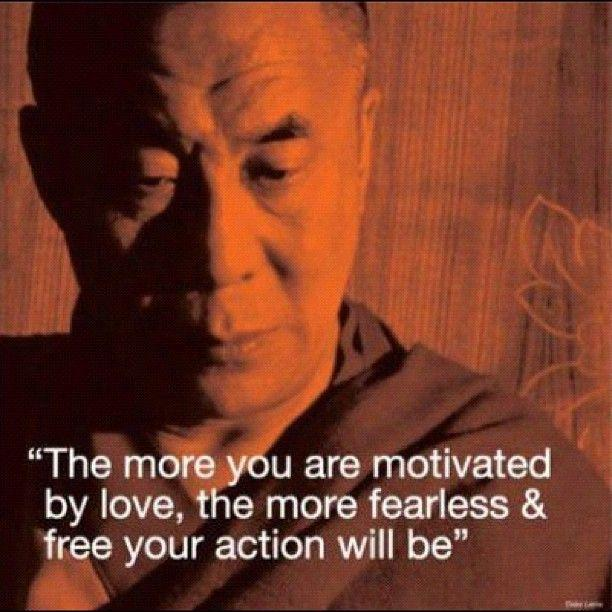 The more you are motivated by love, the more fearless and free your action will be Picture Quote #1