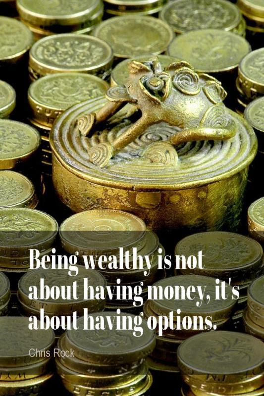 Being wealthy is not about having money, it's about having options Picture Quote #1