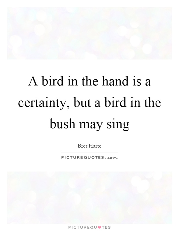 A bird in the hand is a certainty, but a bird in the bush may sing Picture Quote #1