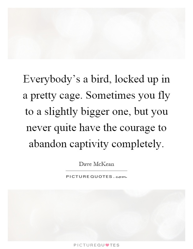 Everybody's a bird, locked up in a pretty cage. Sometimes you fly to a slightly bigger one, but you never quite have the courage to abandon captivity completely Picture Quote #1
