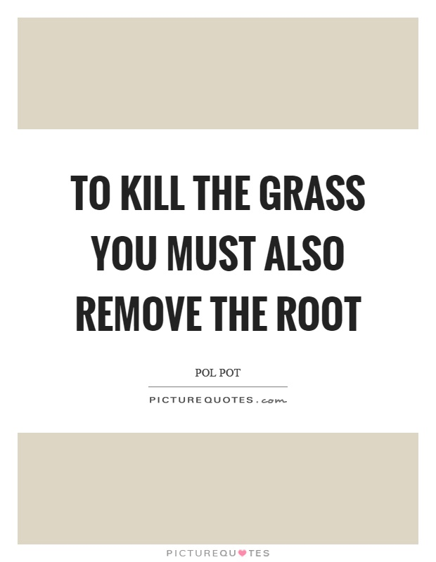 Pol Pot Quotes Awesome To Kill The Grass You Must Also Remove The Root  Picture Quotes