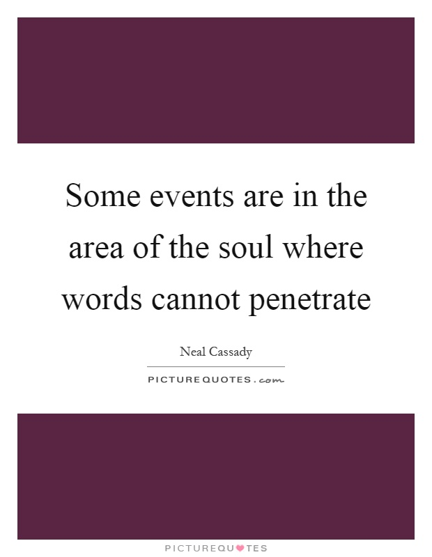 Some events are in the area of the soul where words cannot penetrate Picture Quote #1