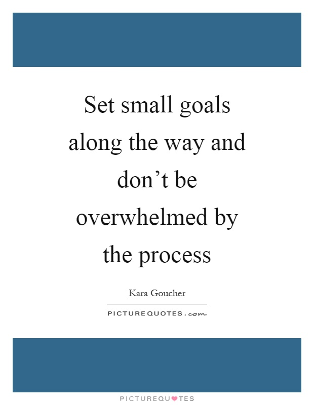 Set small goals along the way and don't be overwhelmed by the process Picture Quote #1