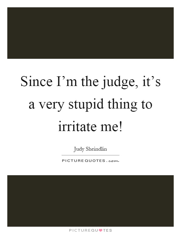 Since I'm the judge, it's a very stupid thing to irritate me! Picture Quote #1