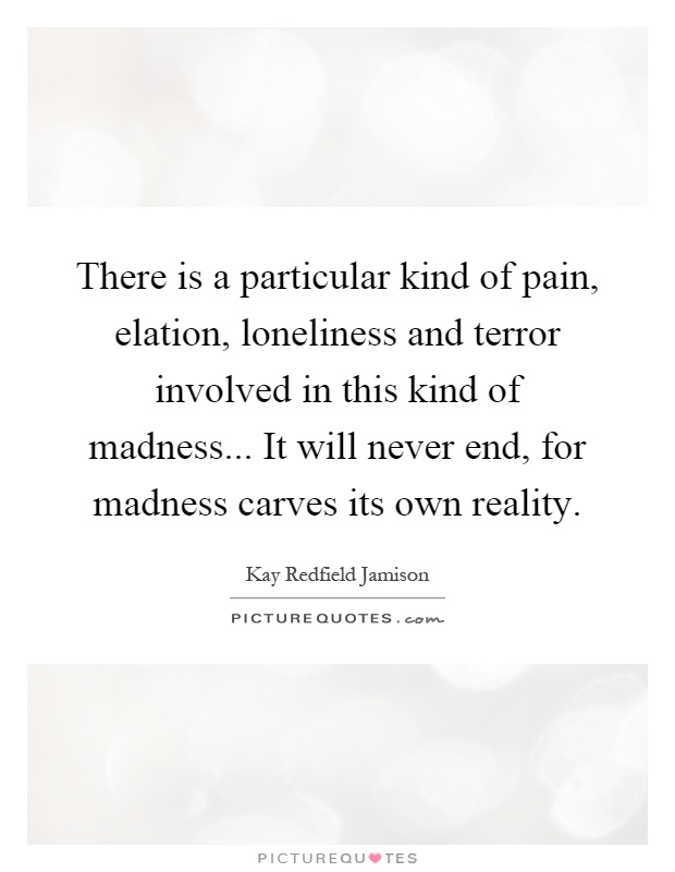 There is a particular kind of pain, elation, loneliness and terror involved in this kind of madness... It will never end, for madness carves its own reality Picture Quote #1