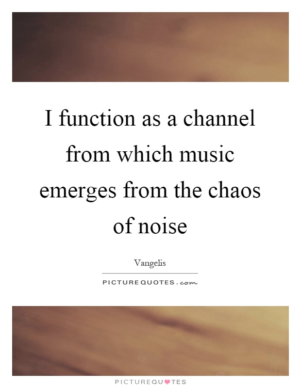 I function as a channel from which music emerges from the chaos of noise Picture Quote #1