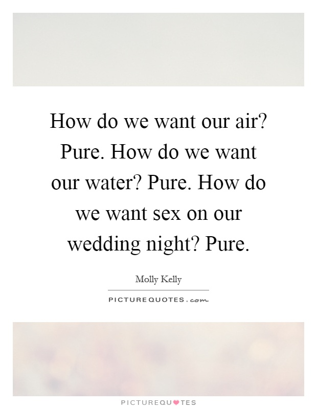 How do we want our air? Pure. How do we want our water? Pure. How do we want sex on our wedding night? Pure Picture Quote #1