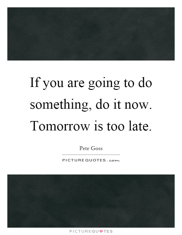 If you are going to do something, do it now. Tomorrow is too late Picture Quote #1