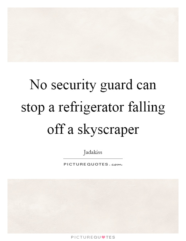 No security guard can stop a refrigerator falling off a skyscraper Picture Quote #1