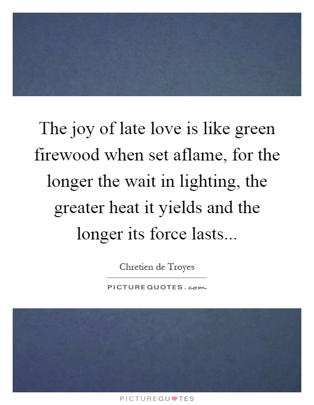 The joy of late love is like green firewood when set aflame, for the longer the wait in lighting, the greater heat it yields and the longer its force lasts Picture Quote #1