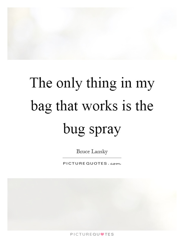 The only thing in my bag that works is the bug spray Picture Quote #1