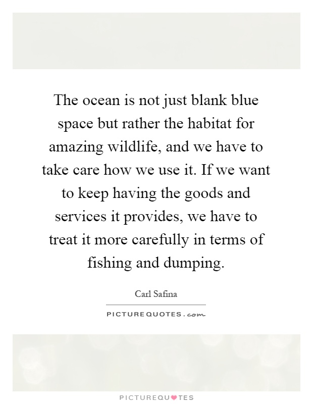 The ocean is not just blank blue space but rather the habitat for amazing wildlife, and we have to take care how we use it. If we want to keep having the goods and services it provides, we have to treat it more carefully in terms of fishing and dumping Picture Quote #1