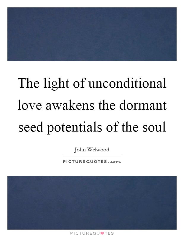 The light of unconditional love awakens the dormant seed potentials of the soul Picture Quote #1