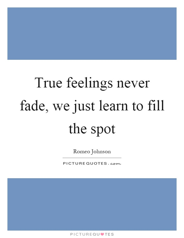 True feelings never fade, we just learn to fill the spot Picture Quote #1