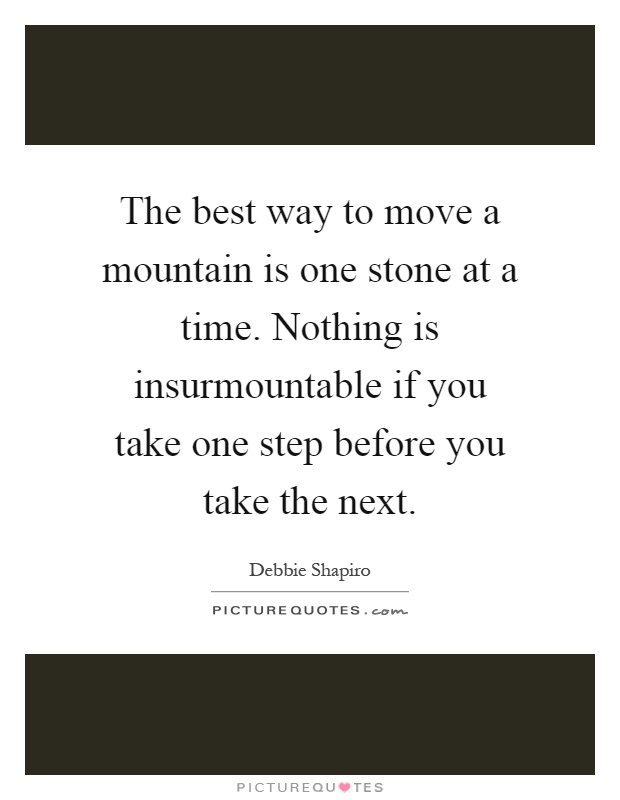 The best way to move a mountain is one stone at a time. Nothing is insurmountable if you take one step before you take the next Picture Quote #1
