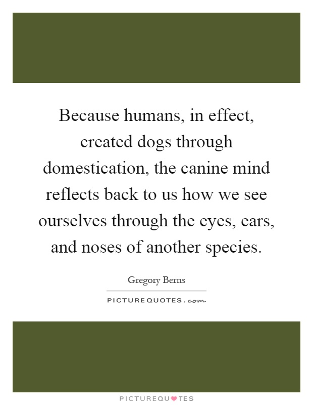 Because humans, in effect, created dogs through domestication, the canine mind reflects back to us how we see ourselves through the eyes, ears, and noses of another species Picture Quote #1