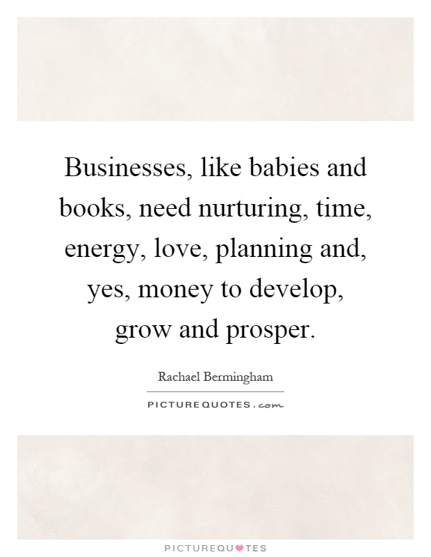 Businesses, like babies and books, need nurturing, time, energy, love, planning and, yes, money to develop, grow and prosper Picture Quote #1